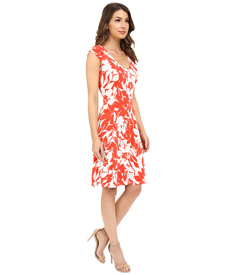 London Times Monotone Petals Fit And Flare White Red 6pm Com