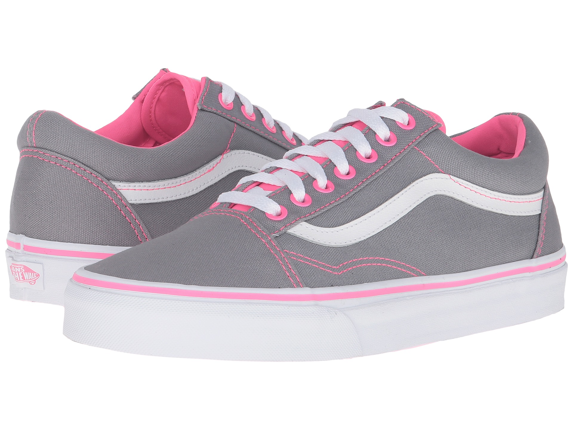 2e5b29600952 Vans Old Skool™ (canvas) Frost Grey neon Pink Pop-zappos