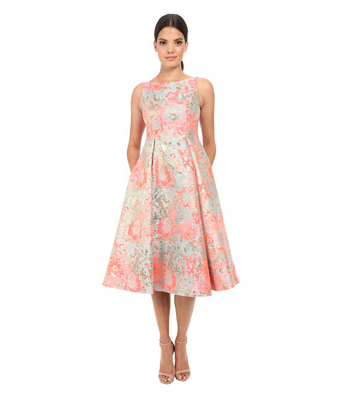 Adrianna Papell Midi Sleeveless Jacquard Party Dress Pink