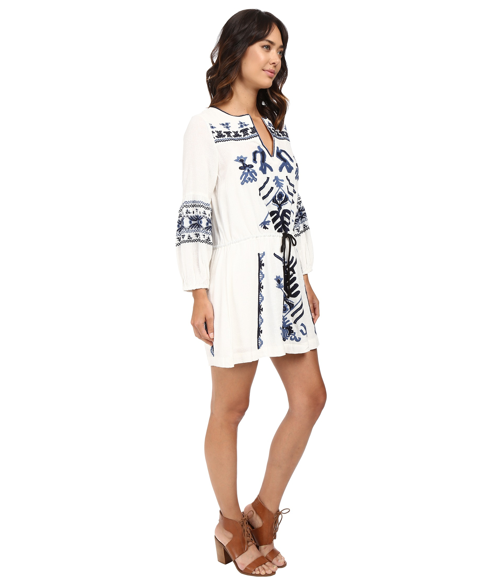 bce5bb70b73e Free People Anouk Embroidered Mini Dress Ivory Combo on PopScreen