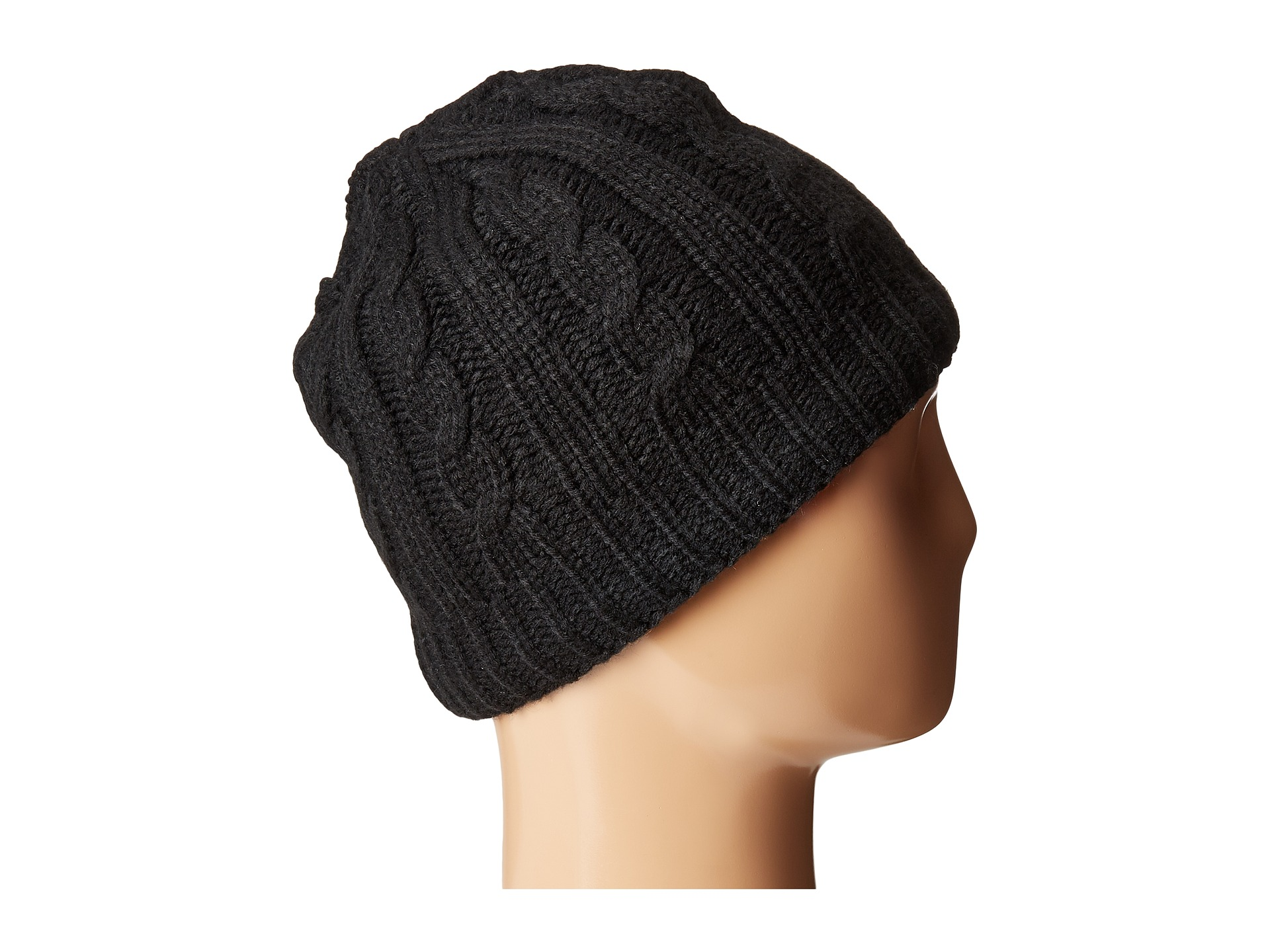 Tommy Hilfiger Fleece Lined Cable Hat Black Zappos Com