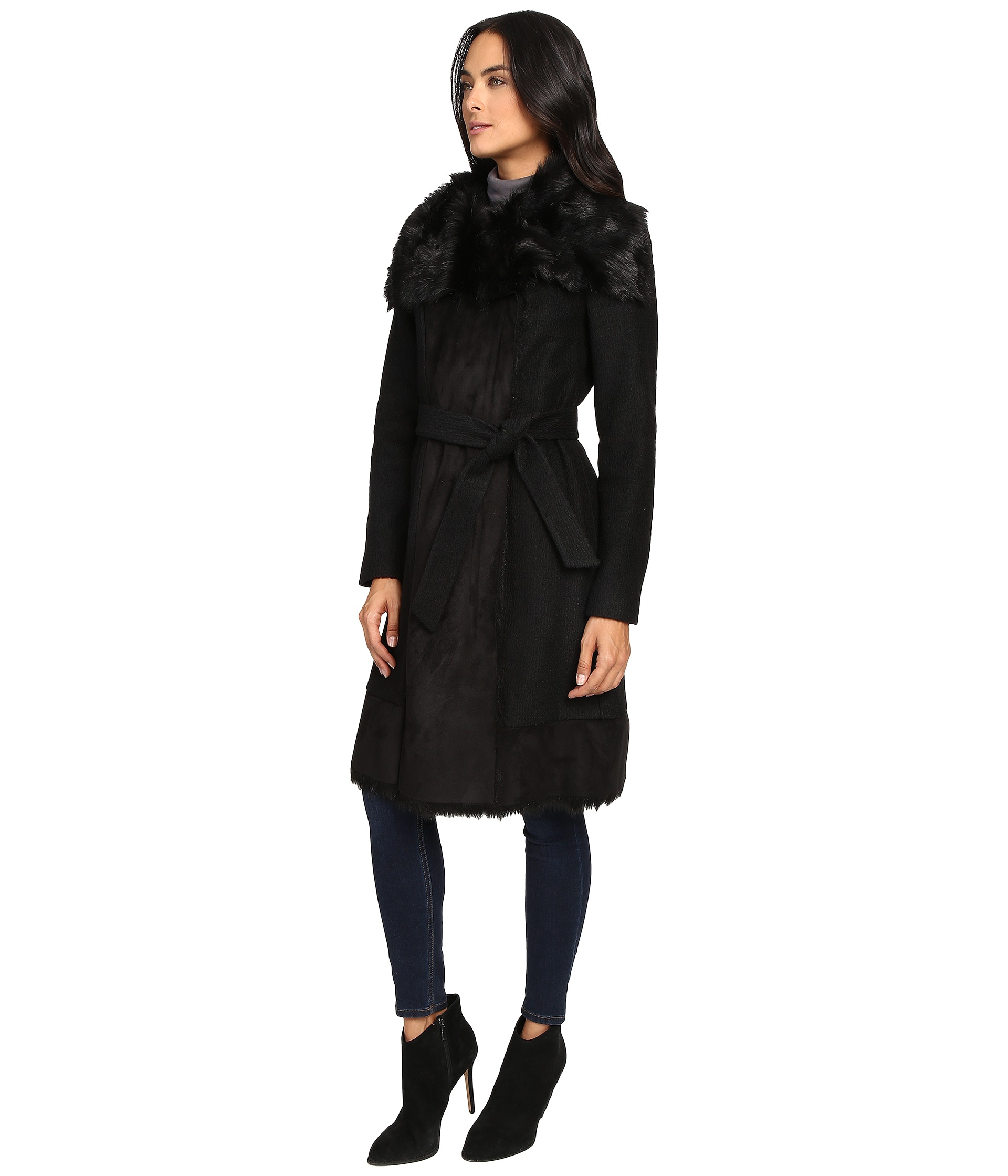 Vince Camuto Belted Faux Fur Trim Wool Coat L1231 Zappos