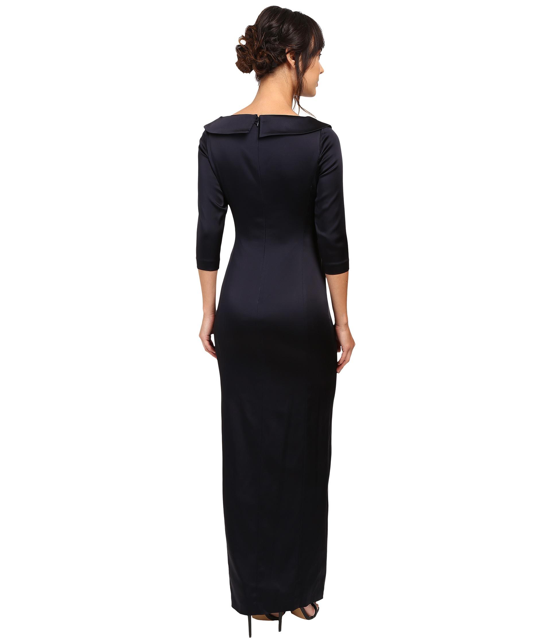 Tahari By ASL Portrait Collar Long Sleeve Gown Navy