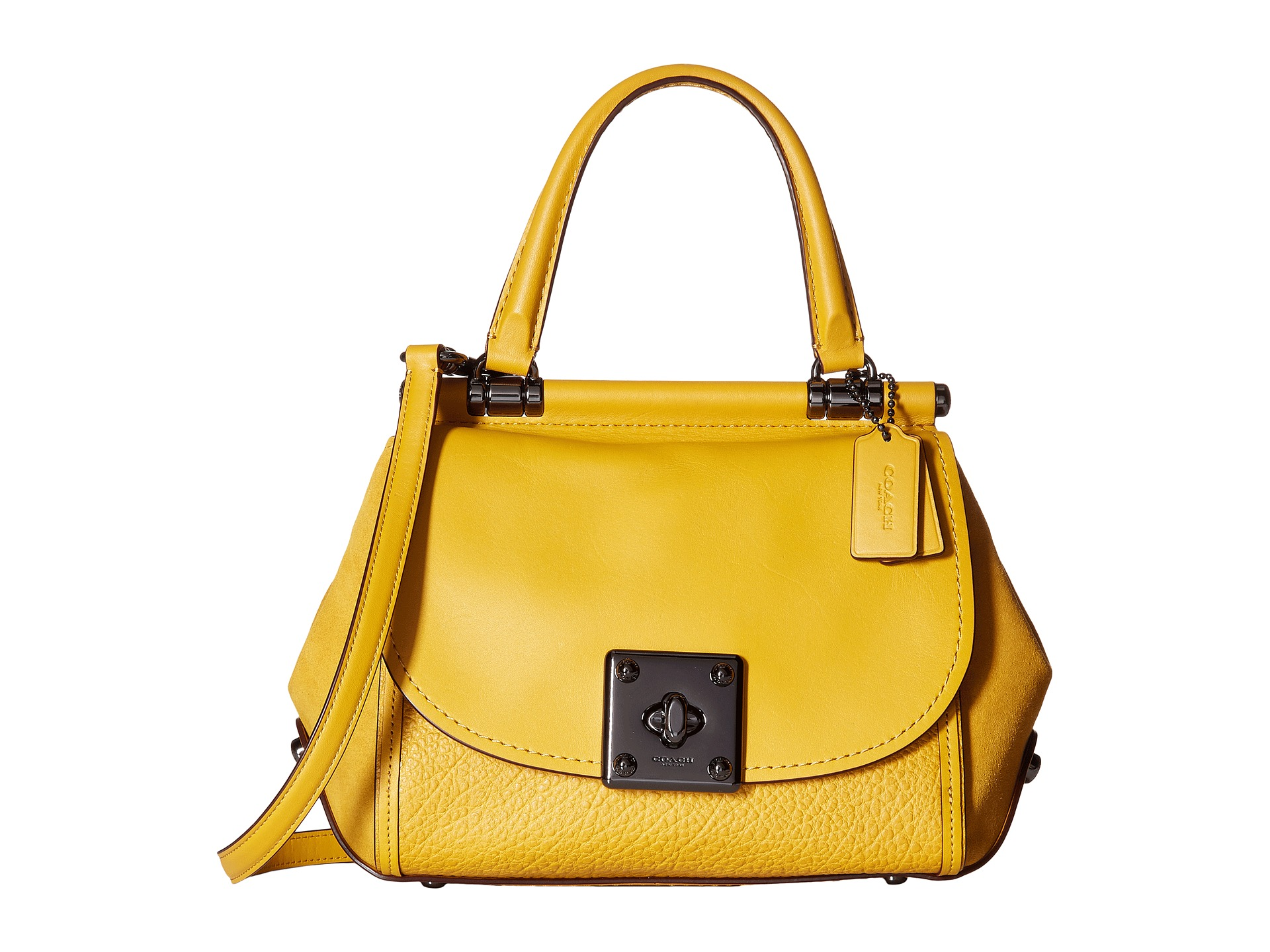 Coach Mixed Leather Drifter Top Handle Dk Flax Zappos