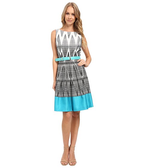 Tahari By Asl Geometric Ombre Printed Fit And Flare W Pop