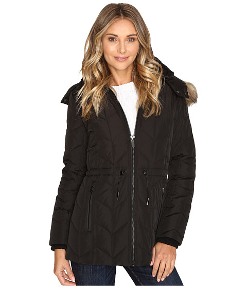 Kenneth Cole New York Quilted Chevorn Coat With Fur Hood