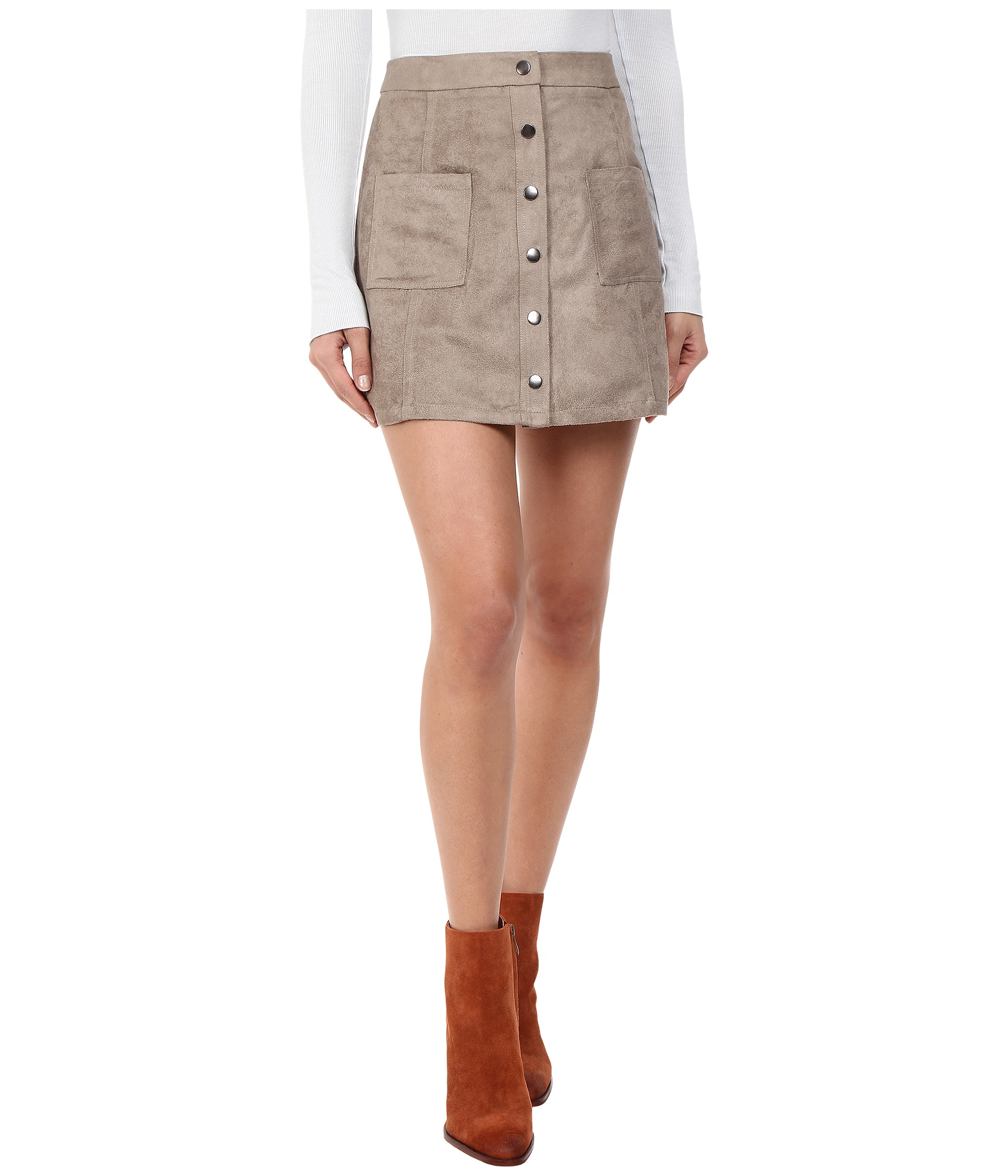 573caf04e jack by bb dakota callister faux suede button front skirt stone brown