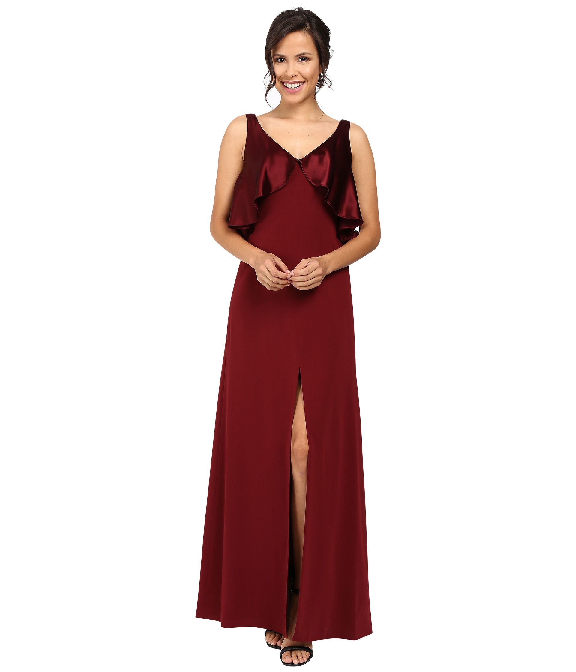 JILL JILL STUART Satin Back Crepe Gown With Cape Detail At