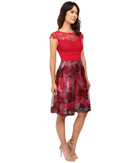 Sangria Cap Sleeve Lace Bodice Knee Length Fit And Flare