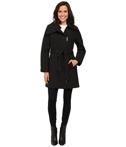 Anne Klein Quilted Asymmetrical Jacket With Belt 6pm Com