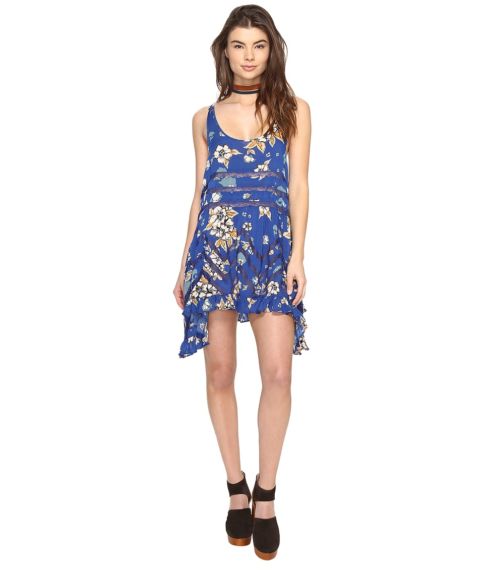 cba4014584a51 $47.99 More Details · Free People - Printed Viscose Voile Lace Trapeze Slip  (Blue Combo) Women's Dress