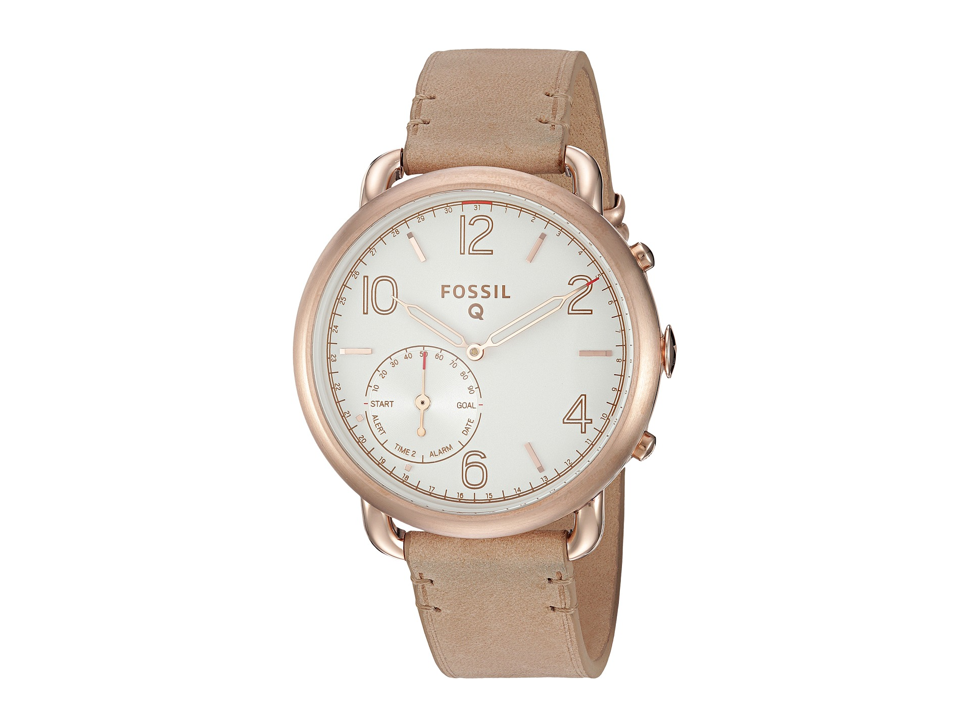 fossil q q tailor hybrid smartwatch ftw1129 rose gold sand leather free shipping. Black Bedroom Furniture Sets. Home Design Ideas