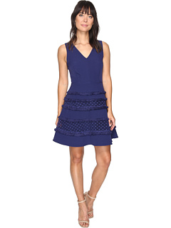 Adelyn Rae Carol Woven Lace Fringe Fit And Flare Dress At