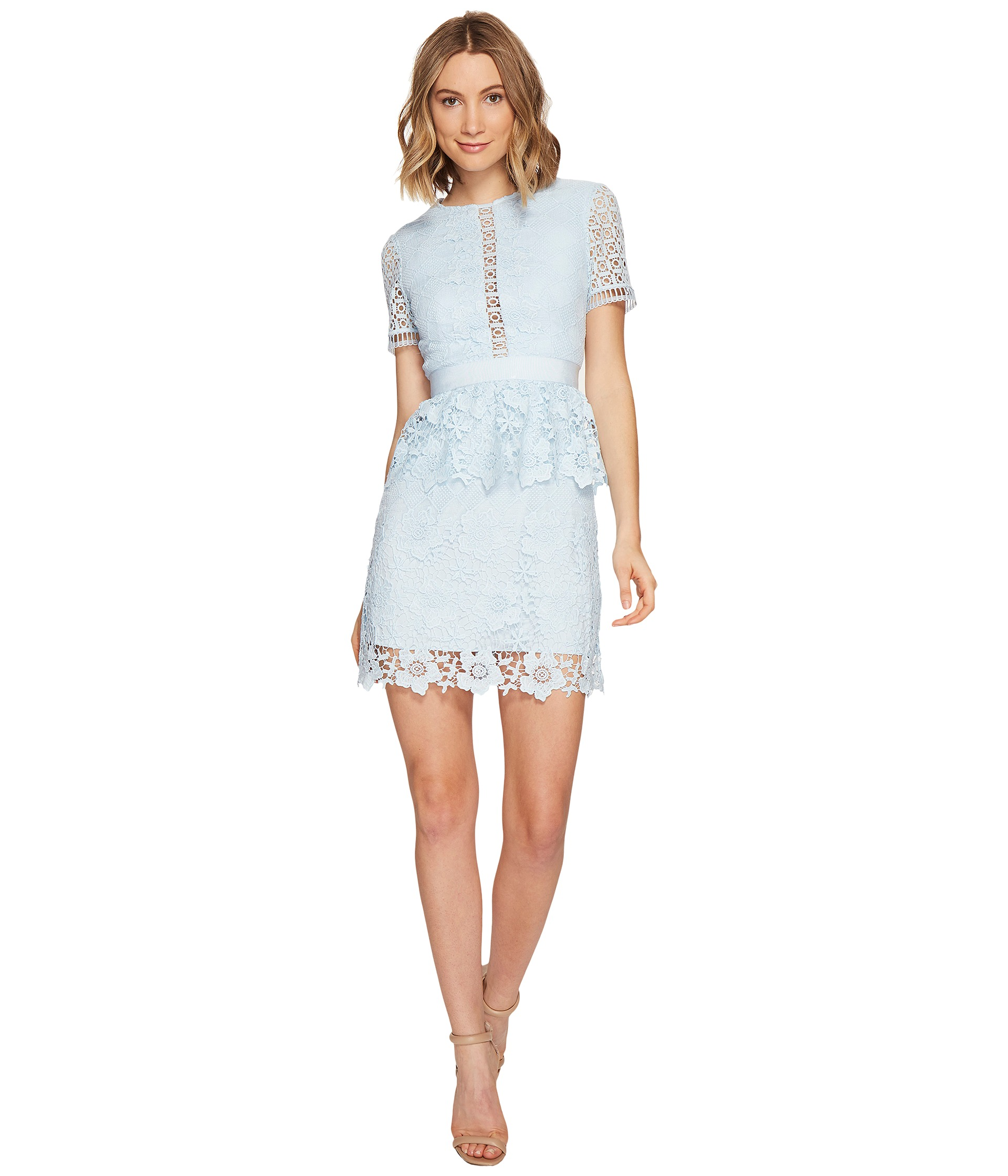 Ted Baker Dixa Layered Lace Skater Dress Baby Blue