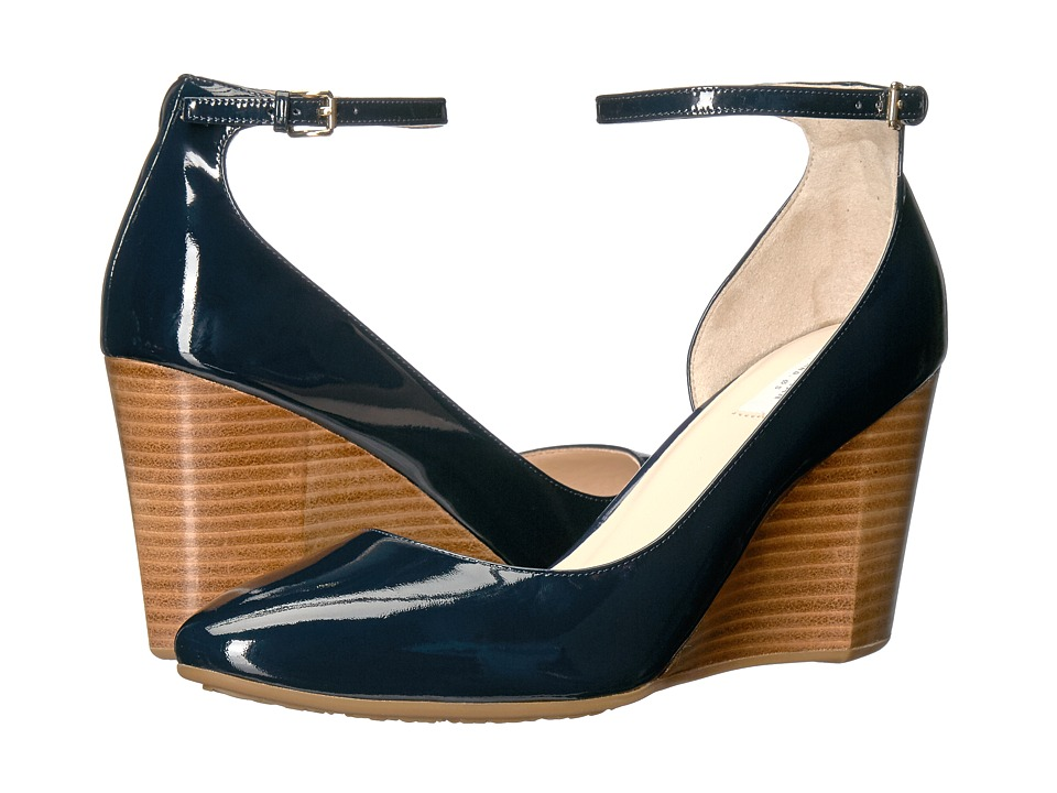 Cole Haan - Lacey Ankle Strap Wedge 85mm (Marine Blue Patent) Women's Wedge Shoes
