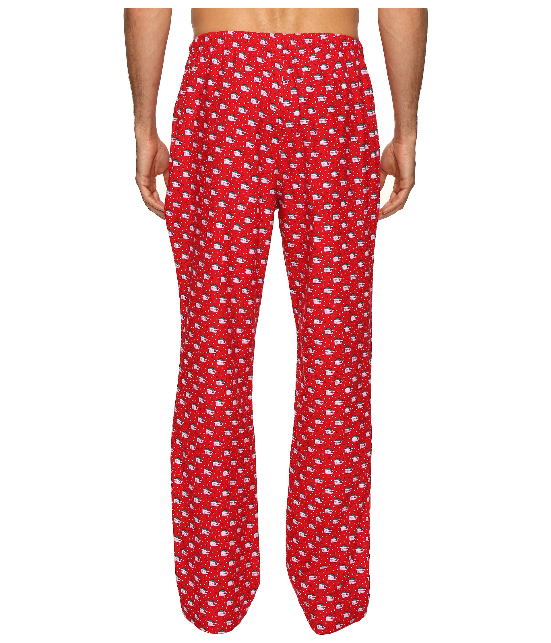 Vineyard Vines Santa Whale Lounge Pants Tomato Check