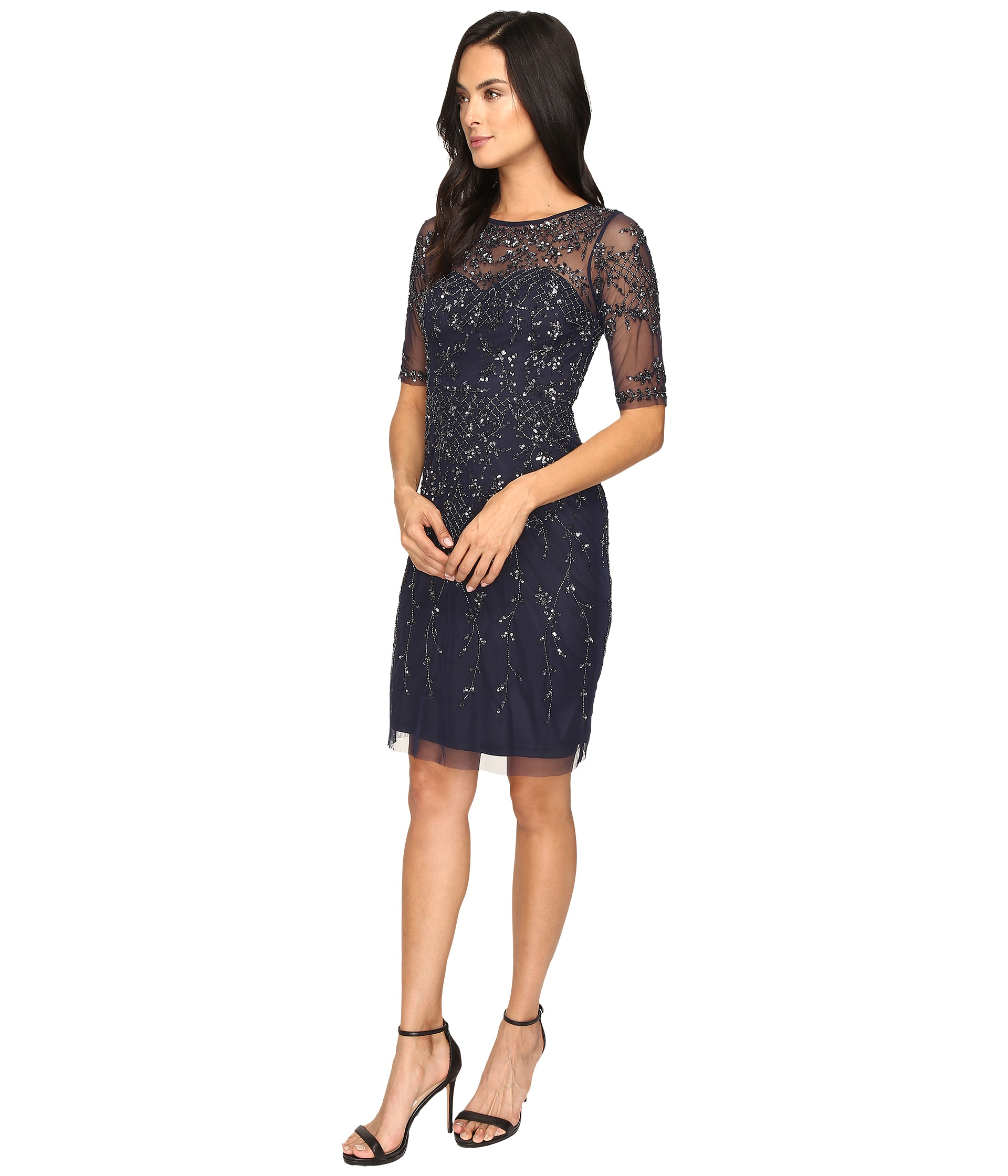 Adrianna Papell 3 4 Sleeve Fully Beaded Cocktail Dress