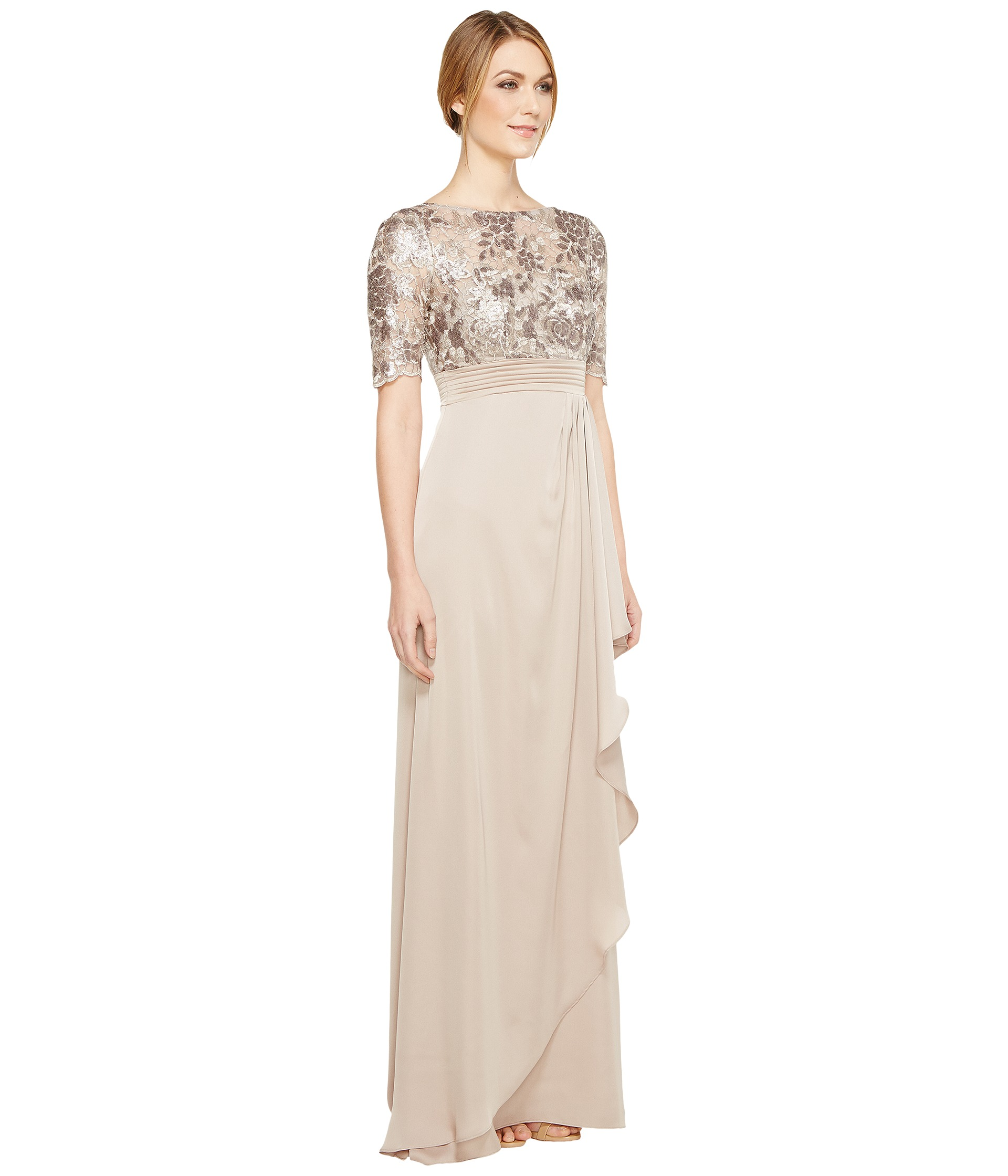 Adrianna Papell Floral Sequin Embroidered Drape Gown Light