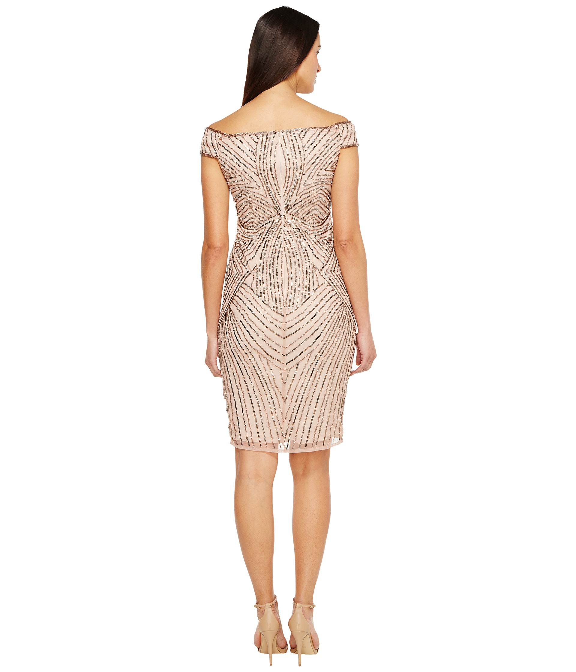Adrianna Papell Off The Shoulder Swirl Beaded Cocktail