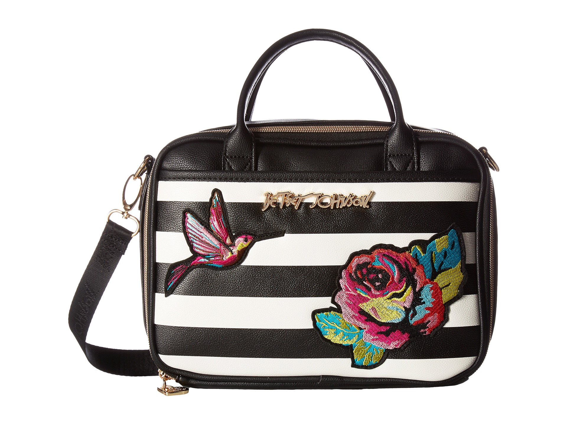 Betsey Johnson Belle Rose Lunch Tote Black Zappos Com